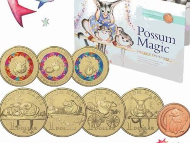 The album that can be purchased with the coins featuring Possum Magic illustrations. Picture: Supplied