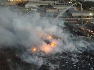 Screen grabs of the recycling plant fire in Coolaroo taken by the MFB drone.
