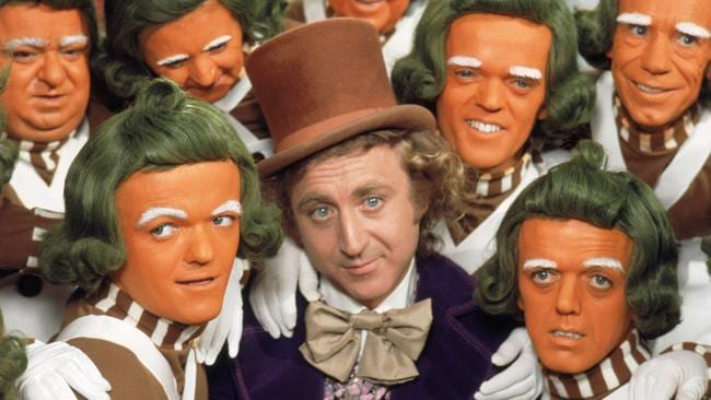 Gene Wilder as Willy Wonka and the Oompa Loompas in the original 'Charlie and The Chocolate Factory' film.