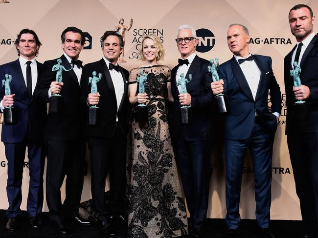 Billy Crudup, Brian d'Arcy James, Mark Ruffalo, Rachel McAdams, John Slattery, Michael Keaton, and Liev Schreiber after winning for Outstanding Performance by a Cast in a Motion Picture 'Spotlight'. Picture: Frazer Harrison/Getty Images