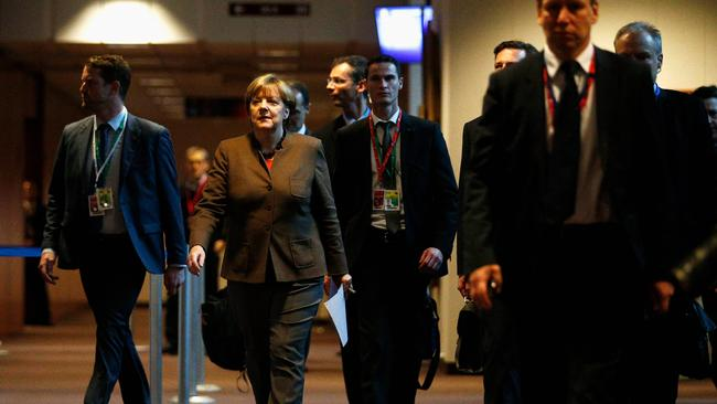 Angela Merkel arrives to speak to the media after the European Council meeting held at the Justus Lipsius Building on December 18, 2015 in Brussels, Belgium. (Photo: Dean Mouhtaropoulos/Getty Images)