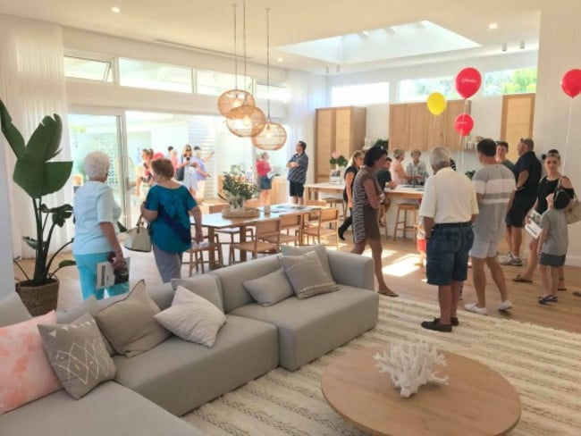 Large groups have inspected the 'Palm Springs' inspired home at Long Jetty.