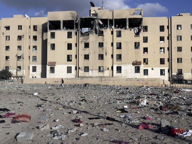 Debris lies scattered at the scene of a damaged apartment block after it was hit by an Israeli airstrike in Beit Lahiya, northern Gaza Strip. Picture: Adel Hana