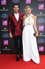 Matt and Jess pictured arriving at the 2017 ARIA Awards held at The Star in Pyrmont in Sydney. Picture: Richard Dobson