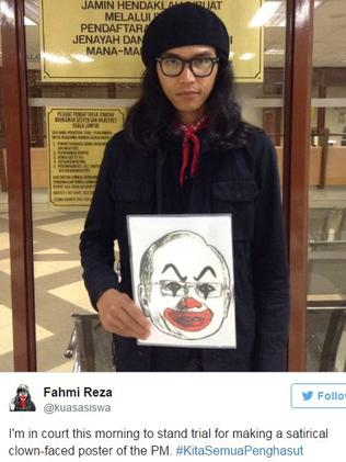 Malaysia's 'Banksy', artist Fahmi Riza posted this on Twitter after he was charged over depicting Malaysian prime minister Najib Razak as a clown.