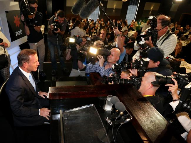 Prime Minister Tony Abbott takes the stage before addressing the National Press Club in Canberra yesterday.