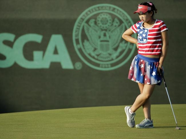 Lucy Li waits to putt on the 13th green during the first round of the U.S. Women's Open.