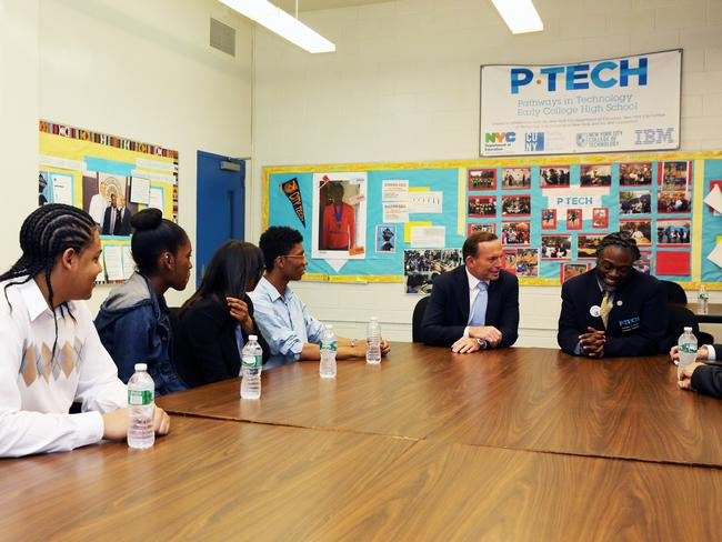 Looks like any other classroom: Tony Abbott visits P-Tech High School in Brooklyn. Picture: Josh Wilson