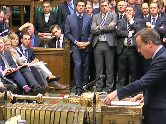 Address ... Britain's Prime Minister David Cameron addresses MPs in the House of Commons to present his case for staying in the European Union. Picture: PA via AP