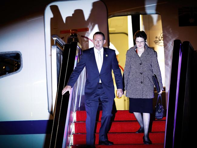Tony Abbott arrives at the Beijing Capital International Airport. Photo by Lintao Zhang/Getty Images