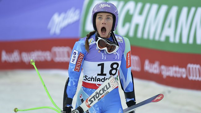 Slovenia's Tina Maze reacts as she see Lindsey Vonn crashing during the women's super-G at the Alpine skiing world championships in Schladming, Austria. Picture: Kerstin Joensson