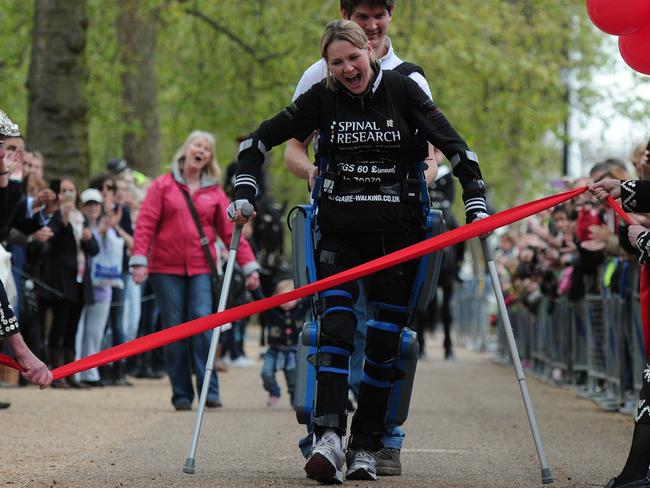 Claire Lomas used a bionic walk to complete the London Marathon, 16 days after she started it.