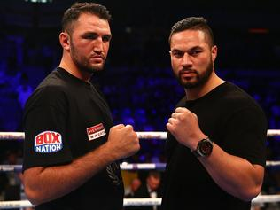 LONDON, ENGLAND - JULY 08: Hughie Fury of Great Britain and Joseph Parker of New Zealand face off in the rin at Copper Box Arena on July 8, 2017 in London, England. (Photo by Ben Hoskins/Getty Images)