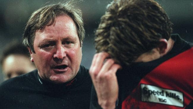 Kevin Sheedy addresses James Hird at the first change. Picture: Herald Sun