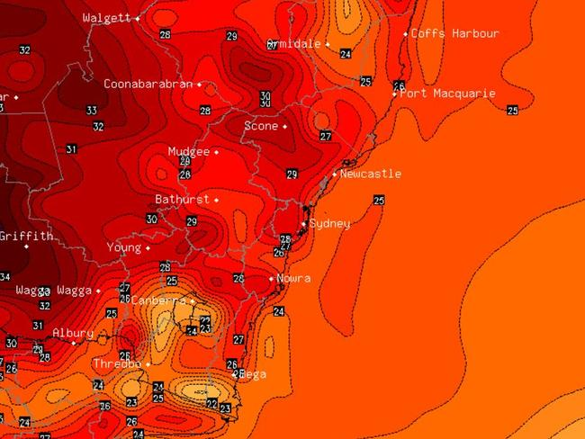 The temperature forecast for this morning, with the highest at around 35C, taken from stormcast.com.au.