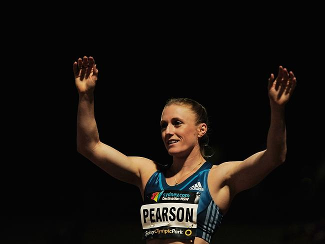 Victory...Sally Pearson celebrates after winning the Womens 100m race during the Sydney Track Classic. Picture: Getty
