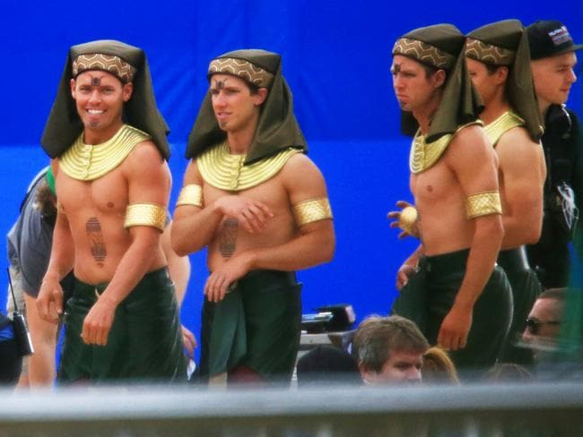 Egyptian extras on set for filming of Gods Of Egypt in Centennial Park today. Picture: Adam Taylor