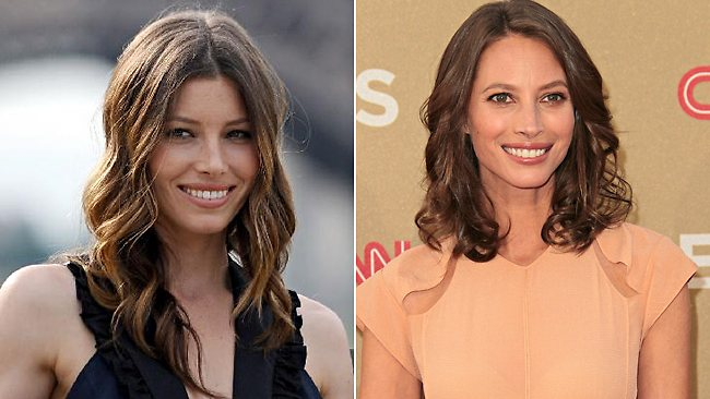Surely they're somehow related! Jessica Biel (30) and Christy Turlington (43). Pictures: Getty/AFP