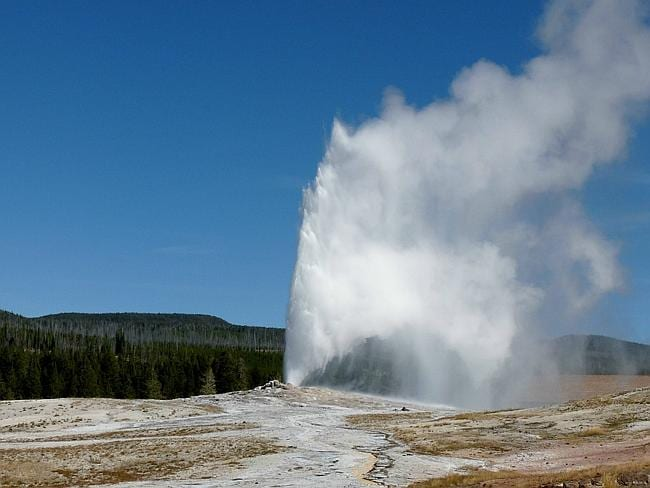 Dramatic eruptions from geysers in Yellowstone National Park.