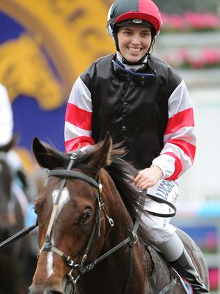 Kayla Nisbet after winning aboard smart colt Lord Of The Sky. Picture: Getty Images