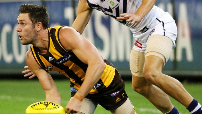 Hawthorn's Jack Gunston in action against Fremantle in his side's big win earlier this season. Picture: Colleen Petch