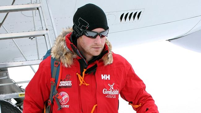 Britain's Prince Harry, patron of the UK team, arrives in Novo, Antarctica to take part in the South Pole Allied Challenge 2013 expedition. Picture: Walking With The Wounded/AP