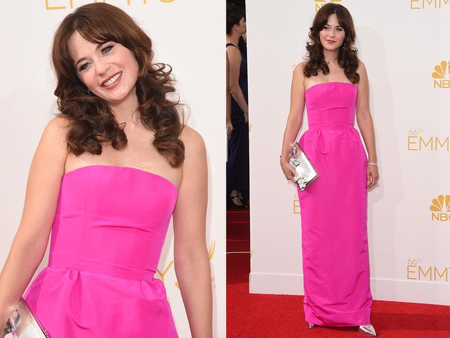 Zooey Deschanel walks the red carpet at the 2014 Primetime Emmy Awards red carpet. Picture: Getty/AFP