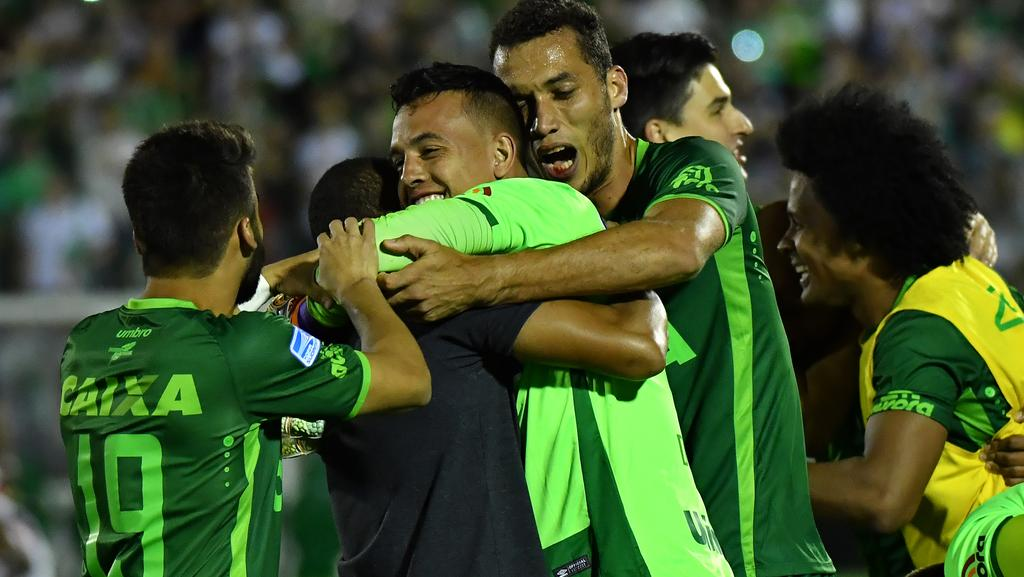 Brazil's Chapecoense goalkeeper Danilo celebrating their huge win with teammates last week.