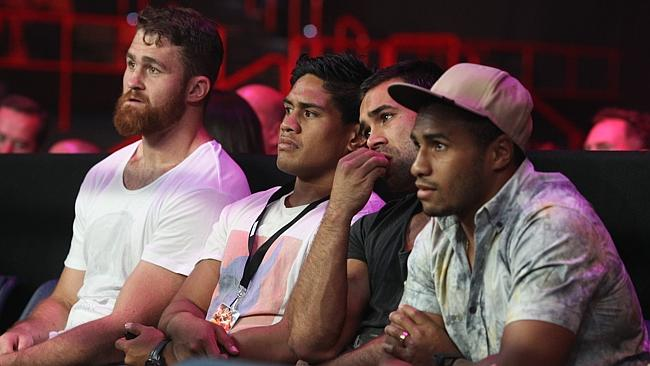 James Horwill, Ben Tapuai, Rod Davies and Will Genia at ringside to watch their teammate fight.