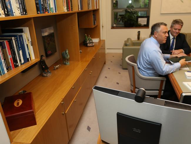 Not-so secret stash ... The Treasurer Joe Hockey has a large cigar box in the corner of his office. Picture: Gary Ramage