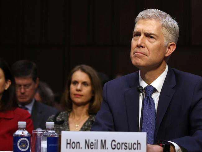Neil Gorsuch takes part in a Senate Judiciary Committee confirmation hearing as US President Donald Trump's nominee for the Supreme Court. Picture: AFP/Tasos Katopodis