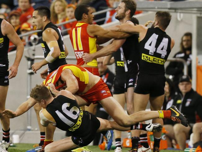 This is about as much fight as St Kilda showed against the Suns. Picture: Jerad Williams