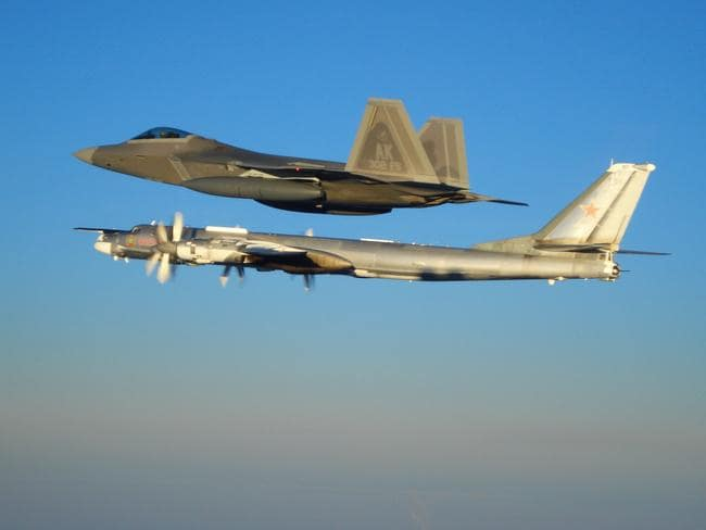 Testy times ... F-22 Raptors from Alaska have intercepted a Russian Tu-95MS strategic bombers flying along the coast of the north-western United States. Picture: US Air Force
