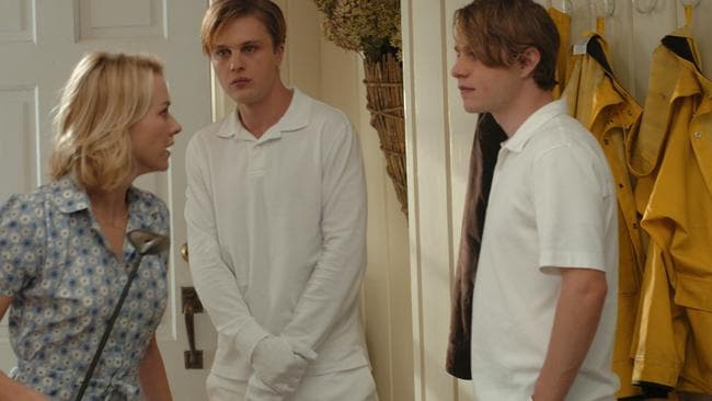 Naomi Watts with Michael Pitt and Brady Corbet in a scene from the chilling Funny Games.