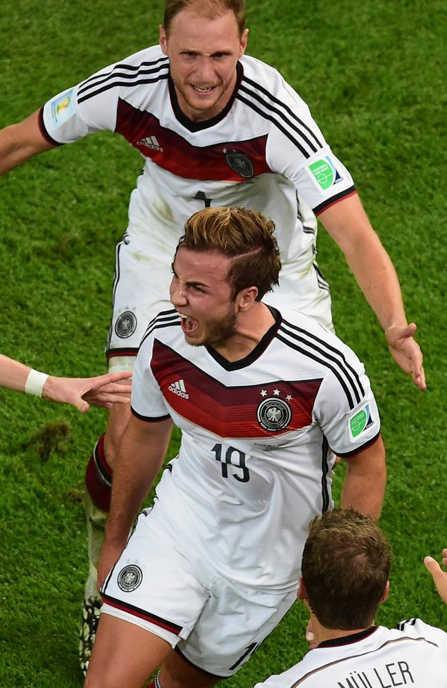 Germany's Mario Goetze celebrates after scoring the winner.