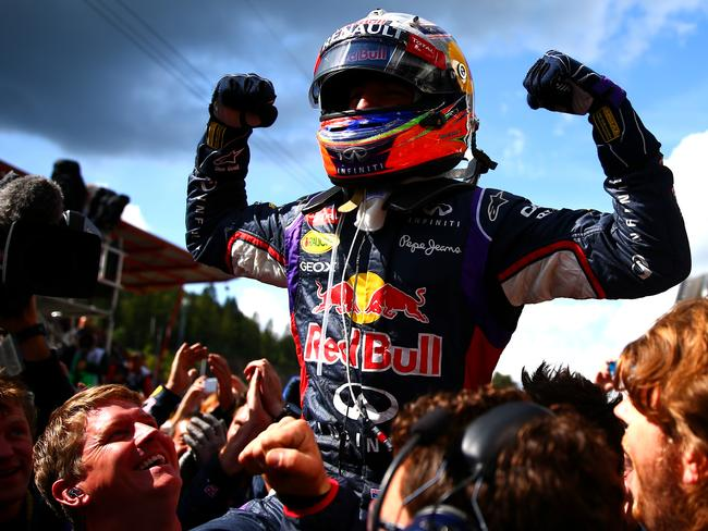 Daniel Ricciardo of Australia and Infiniti Red Bull Racing celebrates in Parc Ferme after winning the Belgian Grand Prix.
