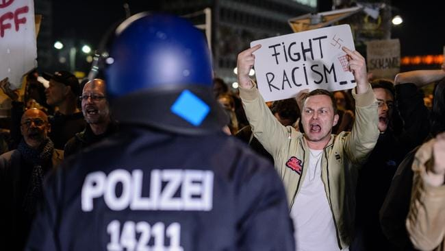 Opponents of the Alternative for Germany protested outside the venue where the party was holding their celebrations. Picture: Jens Schlueter/Getty Images.