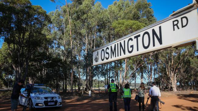 A police roadblock close to where police are investigating the death of seven people in suspected murder-suicide in Osmington, east of Margaret River. Picture: AAP Image/Richard Wainwright.