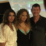 James Packer with his ex-wife Jodhi Meares and new girlfriend Mariah Carey in Italy. Picture: Instagram