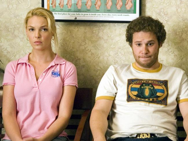 Katherine Heigl and actor Seth Rogen in a scene from 2007 film Knocked Up.