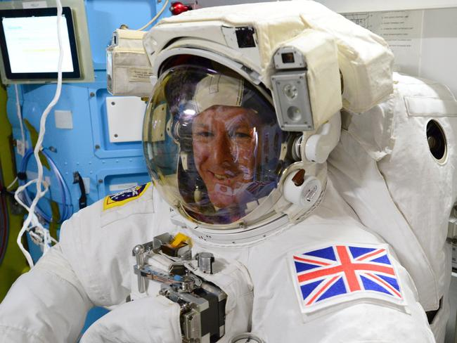 Ready ... Astronaut Tim Peake during the final fit check of his spacesuit ahead of the International Space Station spacewalk. Picture: Getty