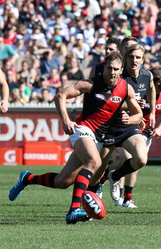 Bomber Jobe Watson in full flight. Picture: George Salpigtidis