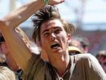 A fan rocks out at the 2014 Big Day Out on the Gold Coast. Picture: Luke Marsden.