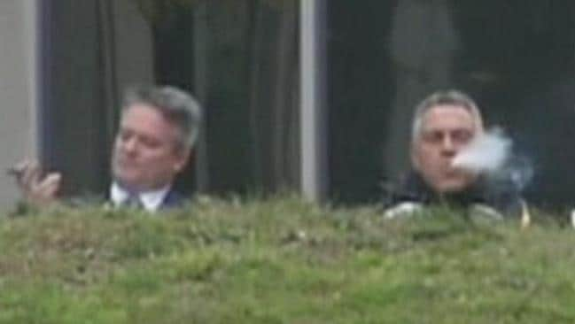 Finance Minister Mathias Cormann and Treasurer Joe Hockey relax, satisfied with their Budget / Picture: Twitter