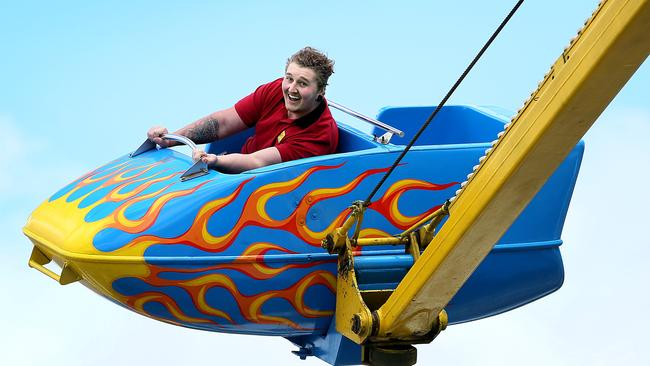 Corey Blanch, 19, of Risdon Vale, has a blast on the Hurricane ride. Pictures: SAM ROSEWARNE