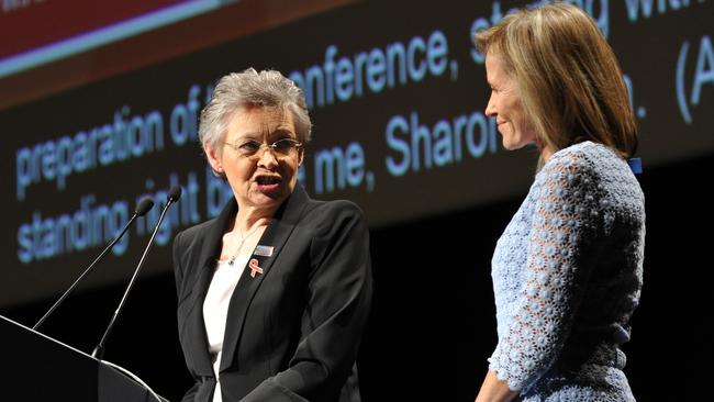 International AIDS Society president Francoise Barre-Sinoussi (left) and co-chair Professor Sharon Lewin speaking during the conference.