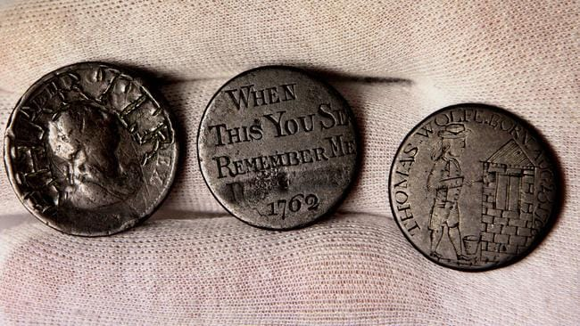 "Convict love tokens from John Frost who was transported to Hobart: ""When this you see remember me""."