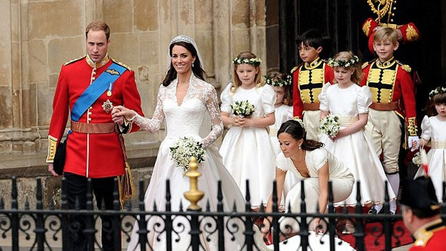 Stars of the show: William and Kate with their bridesmaids and page boys. Picture: Getty Images