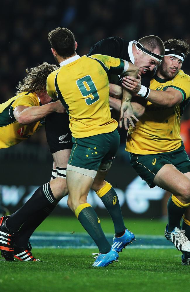 All Blacks lock Brodie Retallick charges into the Wallabies defence at Eden Park.