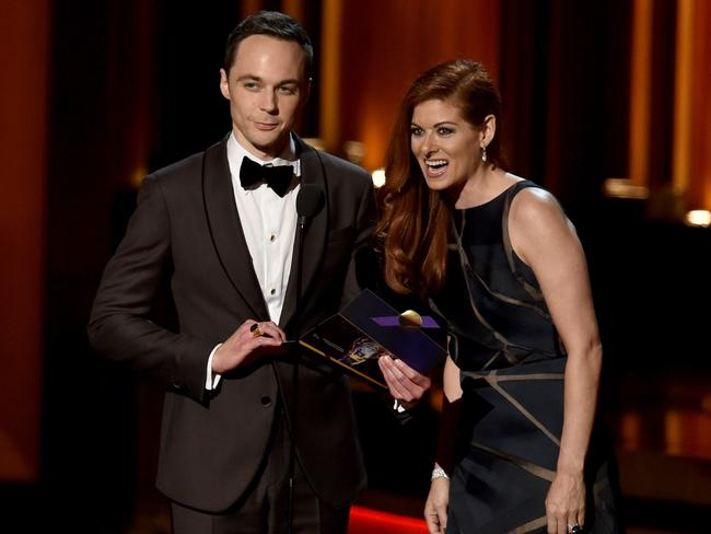 Actors Jim Parsons (L) and Debra Messing.